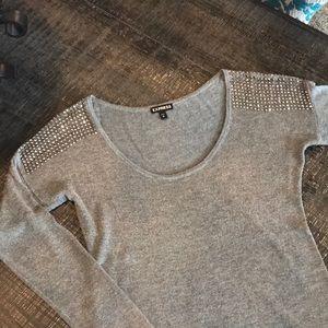 Express embellished shoulder sweater